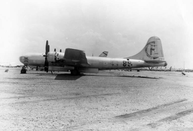 """Bockscar"" in storage at Davis-Monthan Air Force Base, Ariz., in 1959. (U.S. Air Force photo)"
