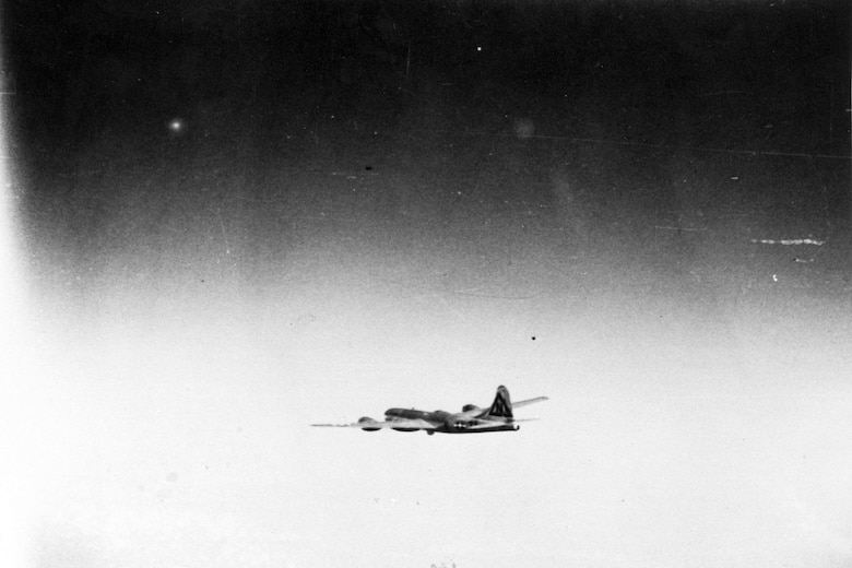 """Bockscar"" en route to Japan with the atomic bomb on board. (U.S. Air Force photo)"