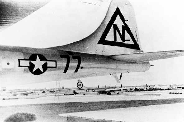 """Bockcar"" tail section, showing temporary markings replacing those of the 509th on Tinian to confuse the enemy. (U.S. Air Force photo)"
