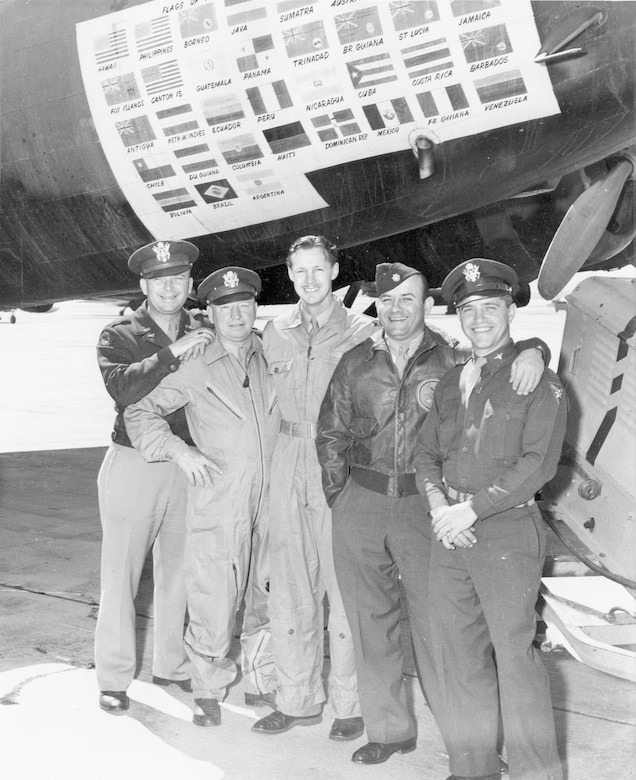 """One of crews from """"The Swoose"""" (pictured after the war). From left to right are Charles Reeves, Harold Varner, Col. Frank Kurtz, Harry Schreiber and Roland Boone. (U.S. Air Force photo)"""