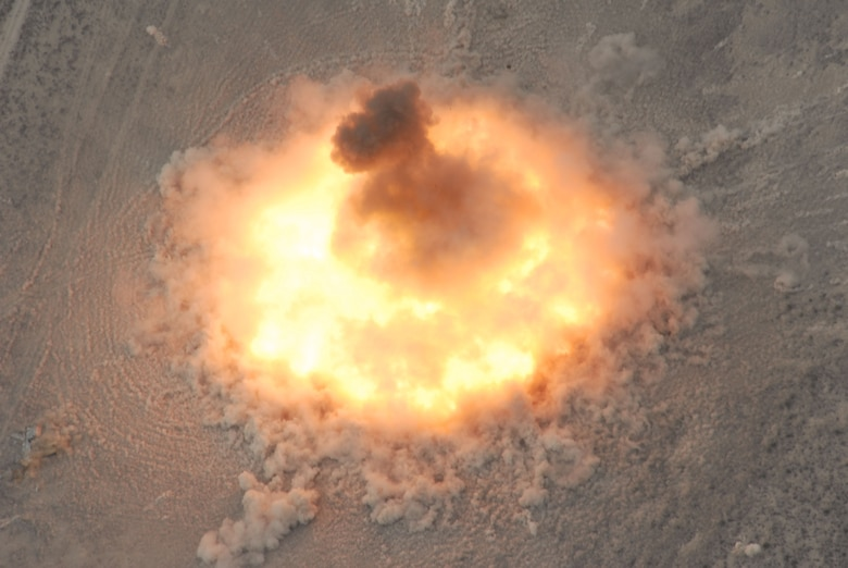 The last 15,000-pound BLU-82 bomb donates after being dropped from an MC-130E aircraft by the 711th Special Operations Squadron at the Utah Test and Training Range on July 15, 2008. (U.S. Air Force photo/Capt. Patrick Nichols)