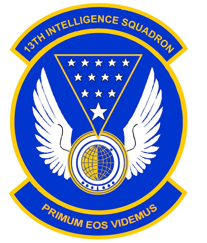 The 13th Intelligence Squadron patch. In accordance with Chapter 3 of AFI 84-105, commercial reproduction of this emblem is NOT permitted without the permission of the proponent organizational/unit commander.