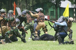 A riot control team comprised of Marines, sailors, Bangladesh service members and local law-enforcement personnel provide cover and apprehend members of a simulated mob July 22 during the Non-Lethal Weapons Executive Seminar 2008 Demonstration here.