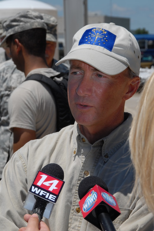 Local news media interviews Governor Mitch Daniels during his visit to a sandbag filling site at the Indiana Department of Transportation in Vincennes on Tuesday, 10 June 2008. (U.S. Air Force photo by Senior Master Sgt. John S. Chapman)