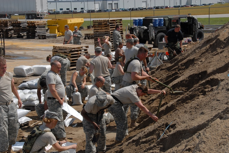 Indiana National Guardsmen filling sandbags in support of Operation Noah's Ark at Vincennes Indiana Department of Transportation on Tuesday; 10; June 2008. (U.S. Air Force photo by Senior Master Sgt. John S. Chapman)