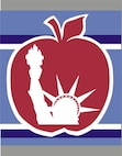 Detail of 105th Airlift Wing C-5A Tail Art. A Red Apple with Statue of Liberty inset.