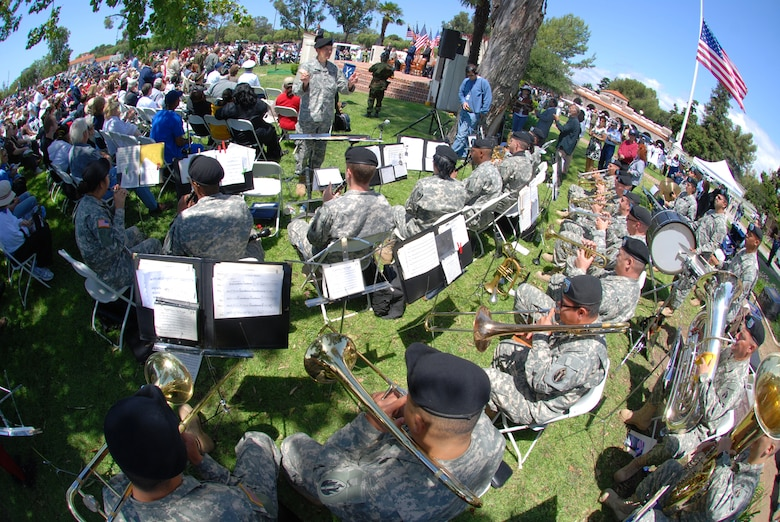 An Army Band plays while the audience looks on at the Memorial Day observance at the Los Angeles National Cemetery, May 16. (Photo courtesy of the Greater Los Angeles VA)