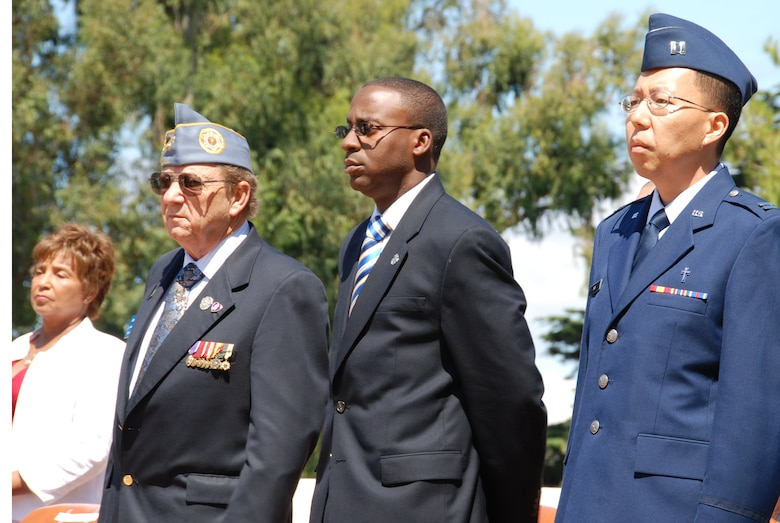 Chaplain (Capt.) Peter Ma represented the Air Force at the Memorial Day observance at the Los Angeles National Cemetery, May 16. (Photo courtesy of the Greater Los Angeles VA)