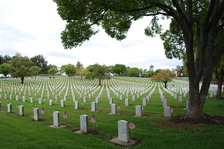 In a tribute to veterans, graves at the Los Angeles National Cemetery were decorated with flags on Memorial Day, May 16. (Photo courtesy of the Greater Los Angeles VA)