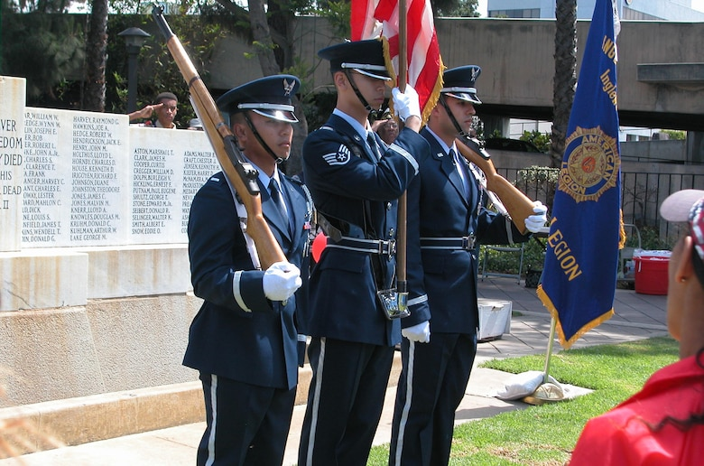 The Los Angeles Air Force Base Honor Guard posted the colors at Inglewood's Memorial Day observance, May 26. (Photo by LaGina Jackson)
