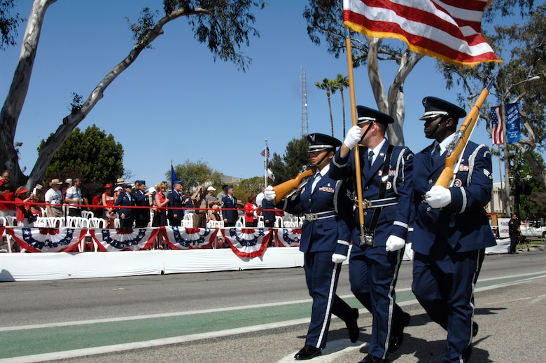 The Los Angeles Air Force Base Honor Guard march in this year's Torrance Armed Forces Day parade, May 17.  (Photo by Joe Juarez)