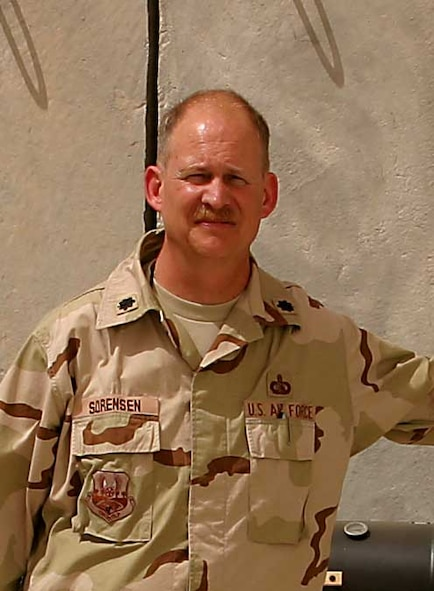 Former Deputy Director of the 704th Communications Squadron Lt. Col. Jay Sorensen stands outside his office shortly after his arrival in Iraq.