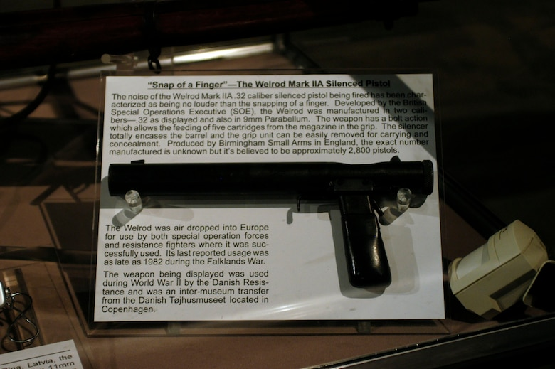 DAYTON, Ohio - Welrod Mark IIA Silenced Pistol on display in the World War II Gallery at the National Museum of the U.S. Air Force. (U.S. Air Force photo)