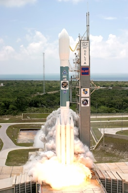A Delta II launches from Cape Canaveral Air Force Station June 10 carrying a Gamma-ray Large Area Space Telescope intended to study gamma ray phenomenon.  The GLAST data will enable scientists to answer persistent questions across a broad range of topics, including supermassive black-hole systems, pulsars, the origin of cosmic rays and searches for signals of new physics. (Courtesy photo)