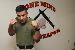 Master Sgt. Fancisco J Noda is black-belt instructor for the Marine Corps Martial Arts Program, a brown in belt in Judo and studies Mui Thai and Jujutsu.