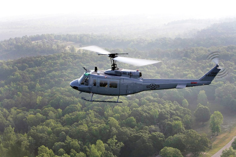 The Vietnam-era UH-1H helicopters were converted into brand new TH-1H helicopters, seen here in action. The UH-1Hs are stripped down,cleaned and then built back up with brand new structural and dynamic parts, an upgraded engine and a glass cockpit that includes state of the art avionics. Courtesy photo