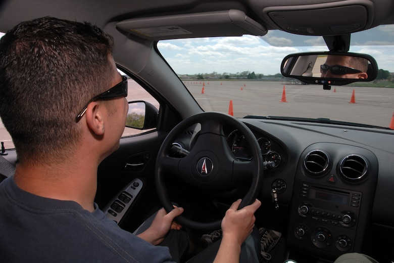 Staff Sgt. Steven Jackson of the 97th Intelligence Squadron takes part in the DUI experience exercise held here May 20. (U.S. Air Force Photo By/Josh Plueger)