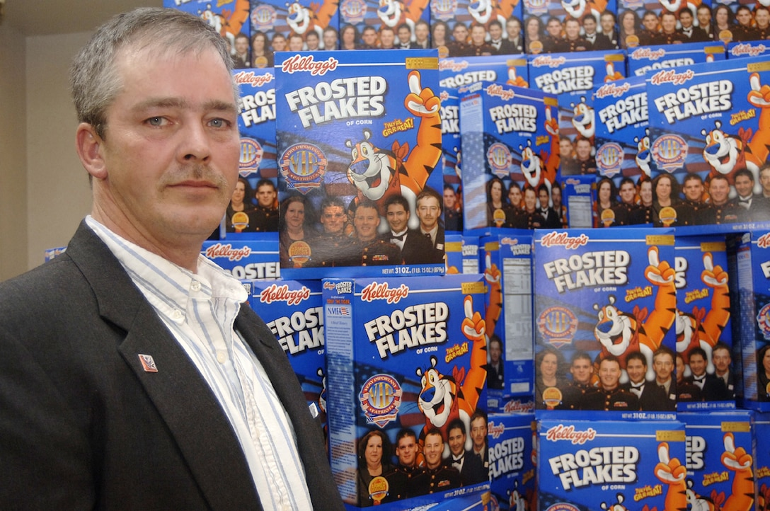 Defense Commissary Agency employee Robert Davison is one of five recipients of the 2005 Very Important Patriot Award from the military community and featured on special-edition boxes of Kellogg's Frosted Flakes. (U.S. Air Force photo)