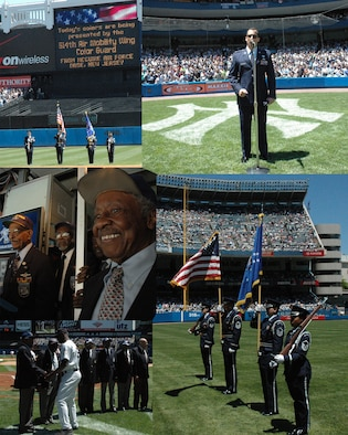MCGUIRE AIR FORCE BASE, NJ - The 514th Air Mobility Wing, Air Force Reserve Command and Reserve Recruiting joined the New York Yankees in honoring the Tuskegee Airmen at a game in New York on May 25 (Memorial Day Weekend). The 514th Air Mobility Wing's Color Guard presented the colors during the opening ceremony while a reserve Airman sung the national anthem. (U.S. Air Force/composite graphic created by Captain Mark Medvesky)