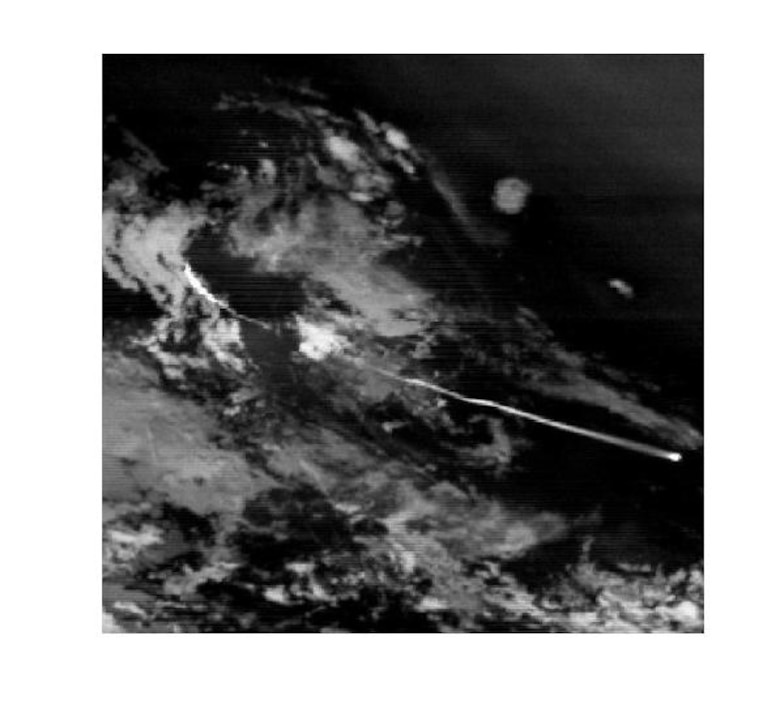 Infrared satellite imagery from the Space Based Infrared Systems Highly Elliptical Orbit-2 sensor depicts a missile launch through the clouds. (U.S. Air Force Photo by: Air Force Space Command's Space-Based Infrared Systems Wing)