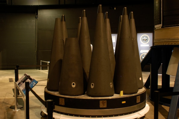 DAYTON, Ohio - MK-21 re-entry vehicles on display in the Missile & Space Gallery at the National Museum of the U.S. Air Force. (U.S. Air Force photo)