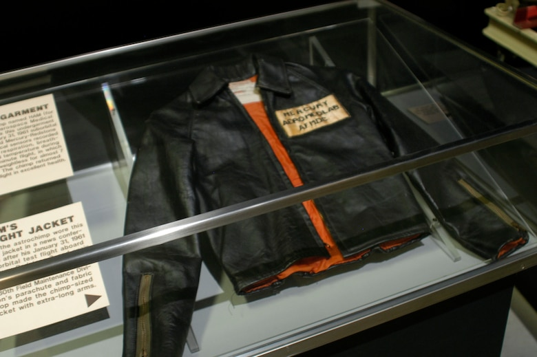 DAYTON, Ohio - HAM's flight jacket on display in the Missile & Space Gallery at the National Museum of the U.S. Air Force. (U.S. Air Force photo)