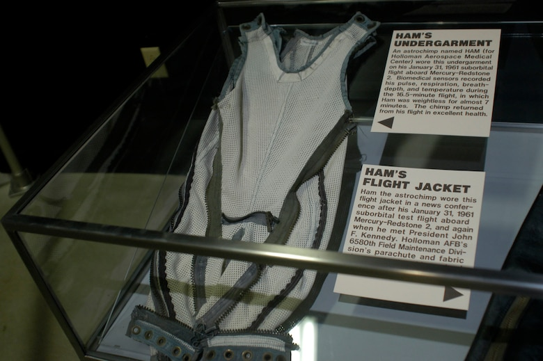 DAYTON, Ohio - HAM's undergarment on display in the Missile & Space Gallery at the National Museum of the U.S. Air Force. (U.S. Air Force photo)