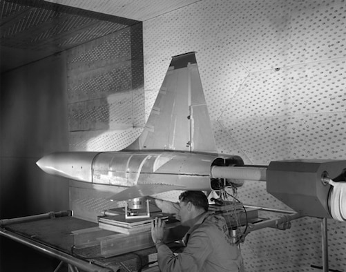 This T-38 Northrup Talon supersonic jet trainer model was tested in the U.S. Air Force Arnold Engineering Development Center's 16-foot transonic wind tunnel in 1958. The T-38 flew in 1959. (AEDC file photo)