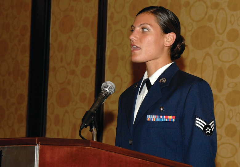 Senior Airman Amanda Gladle, 61st MDG, performs the Pledge of Allegiance at the start of the AFA Salute to SMC banquet at the LAX Marriot on June 20. (Photo by Stephen D. Schester)