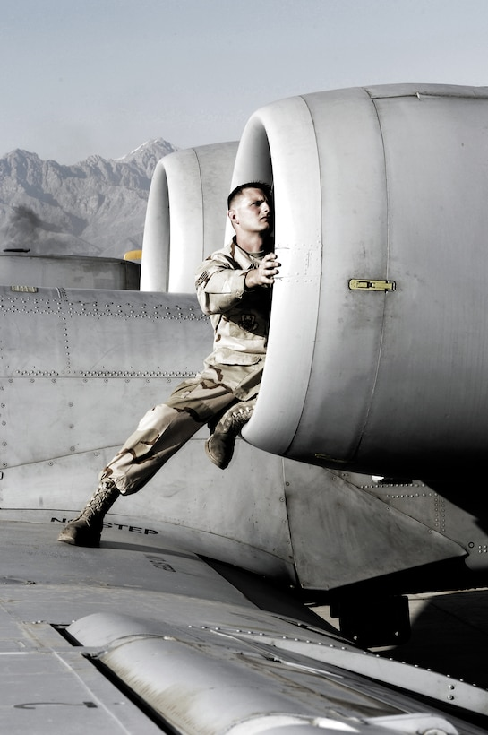 """After each combat mission, A-10 Thunderbolt II crew chief Staff Sgt. Damon Ballard checks his """"hog"""" to ensure it's good to go for its next mission from Bagram Air Base, Afghanistan. He deployed to the 455th Expeditionary Maintenance Squadron with the 81st Aircraft Maintenance Unit, Spangdahlem Air Base, Germany. (U.S. Air Force photo by Master Sgt. Demetrius Lester)"""