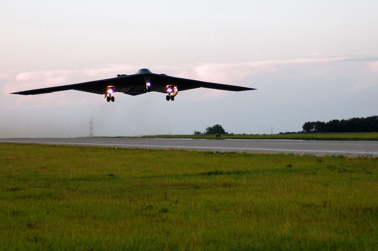 Col. Gregory Champagne and Maj. David Thompson take off on a B-2 Spirit mission June 18 at Whiteman Air Force Base, Mo. It was the first sortie flown and launched by Air National Guard members. Colonel Champagne is the 131st Fighter Wing vice commander and Major Thompson is assigned to the 131st FW. (U.S. Air Force photo/Senior Airman Jessica Snow)