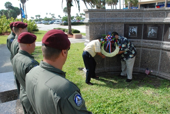 PATRICK AIR FORCE BASE, Fla. - Airmen of the 920th Rescue Wing here paid respects to five coworkers who were killed in the 1996 bombing of Khobar Towers in a small informal ceremony June 25. (U.S. Air Force Photo/Capt. Cathleen Snow)
