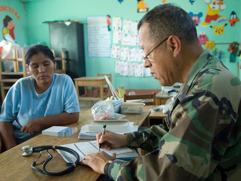 Maj. Victor Inga writes a prescription for a local family diagnosed with parasites during a medical examination June 24 in Ayacucho, Peru. American servicemembers are providing medical care during New Horizons-Peru 2008. The mission is a U.S. and Peruvian partnered humanitarian effort to provide relief to underprivileged Peruvians. Major Victor Inga is Reserve physician from Alexandria, Va. (U.S. Air Force photo/Staff Sgt. Bennie J. Davis III)