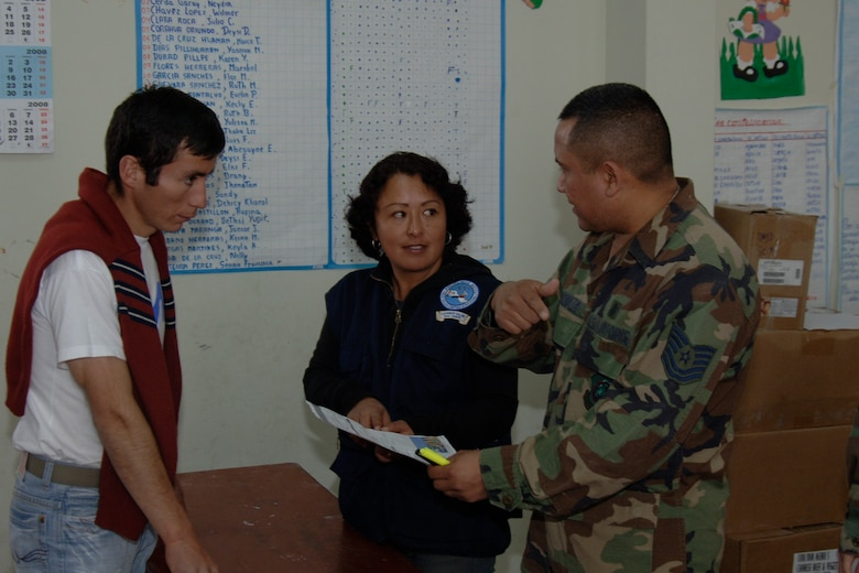 U.S. Air Force Tech. Sgt. Jose Urquiza , a pharmacy technician assigned to Task Force New Horizons, and a Peruvian health official assist a Peruvian man being treated by U.S. servicemembers, June 26,  with prescribed medicine during New Horizons - Peru 2008, a U.S. and Peruvian effort focused on Providing relief to underprivileged Peruvians. (U.S. Air Force photo / by Tech. Sgt. Kerry Jackson)
