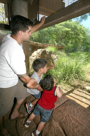 (From left to right) Coast Guard Petty Officer 2nd Class Andrew Lincoln and his sons, Reagan and Franklin search for a cheetah June 28 at the Honolulu Zoo. Lincoln and his family attended Military Appreciation Day, sponsored by the United Services Organization, the zoo and the city and county of Honolulu. Lincoln is an Operations Specialist with Coast Guard Sector, Honolulu.
