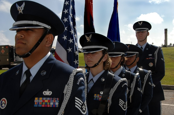 Team Andersen's Honor Guard awaits Presentation of Colors at the 36th Mobility Response Squadron Assumption of Command on June 30. The Team Andersen Honor Guard's primary mission is to provide final military honors to our fallen military members.   (U.S. Air Force photo by Airman 1st Class Courtney Witt)