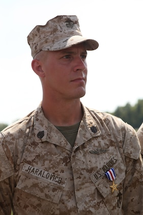 Staff Sgt. Alec Haralovich was presented the Silver Star Medal, the nation?s third highest award for combat heroism, for his actions during a combat deployment to Afghanistan in 2011. After Haralovich was shot twice in his body armor by an insurgent, he destroyed an enemy stronghold with a rocket and led his Marines on a two-hour assault after their ambushers during an Afghanistan deployment in 2011. Haralovich is a reconnaissance Marine assigned to E Company, 4th Reconnaissance Bn., 4th Marine Division.