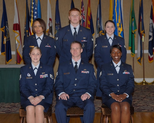 The 14th Flying Training Wing congratulates the March enlisted promotees. Pictured are: (front row) to Staff Sgt.: Sherri Tucker, 14th Operations Support Squadron; Justin Desorcy, 14th Communications Squadron; Marquita Magee, 14th OSS; (back row): to Senior Airman: Jessica Bond, 14th Medical Operations Squadron; Nicholas Homer, 14th Civil Engineer Squadron; and Jessica Kerr, 14th Medical Support Squadron. (U.S. Air Force photo by Melissa Duncan)