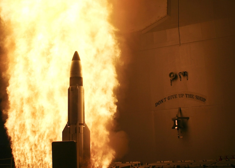 The USS Lake Erie launches a Standard Missile-3 at a non-functioning National Reconnaissance Office satellite as it traveled in space at more than 17,000 mph over the Pacific Ocean on Feb. 20, 2008. (U.S. Navy photo)