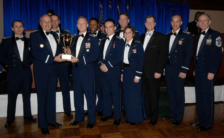 The Space Systems Team Award was presented to the Atlas Launch Team. Also pictured is SMC Commander Lt. Gen.  Michael Hamel and SMC Command Chief Master Sergeant Steven Crocker. (Photo by Lou Hernandez)