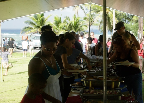 ANDERSEN AFB, Guam - Team Andersen members line up for food provided by the 36th Services Squadron. (U.S. Air force photo by Airman 1st Class Zachary Hunter)