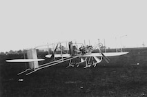 "Wright ""Baby Grand"" three quarter view on ground, Simms Station near Dayton, Ohio, 1910 (10493 A.S.)"