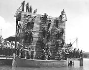An abandon ship drill - down the scrambling nets.