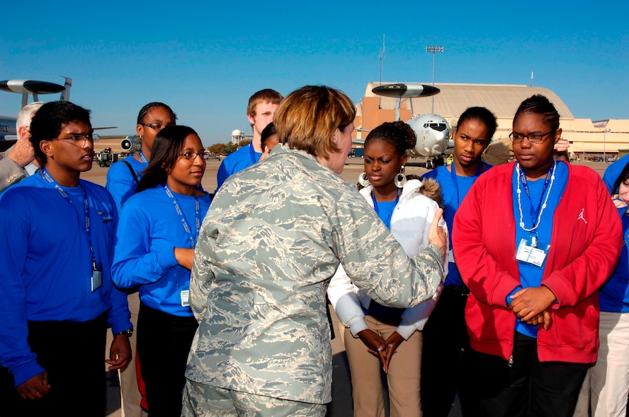Brigadier General Lori J. Robinson, 552nd ACW Commander, teaches DelQuest students about the E-3 Sentry and the mission of the 552nd Air Control Wing. Photo compliments of Visual Information.