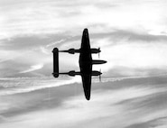 P-38 banking for dive bombing run.