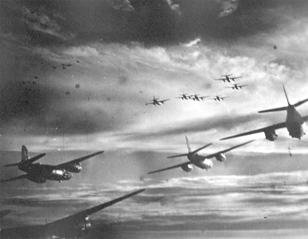 B-26s join with other B-26 squadrons for mission.