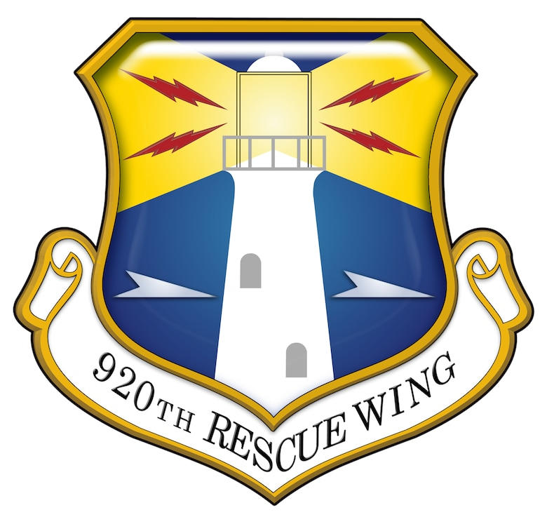 920th Rescue Wing Shield (Color - Stylized). In accordance with Chapter 3 of AFI 84-105, commercial reproduction of this emblem is NOT permitted without the permission of the proponent organizational/unit commander. Image created by Staff Sgt. Paul Flipse of the 920th Public Affairs Office and is 9 x 8.5 inches @ 300dpi.