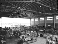 This last of the series shows an interior view of the Bates Field Mockup where students receive maintenance training.
