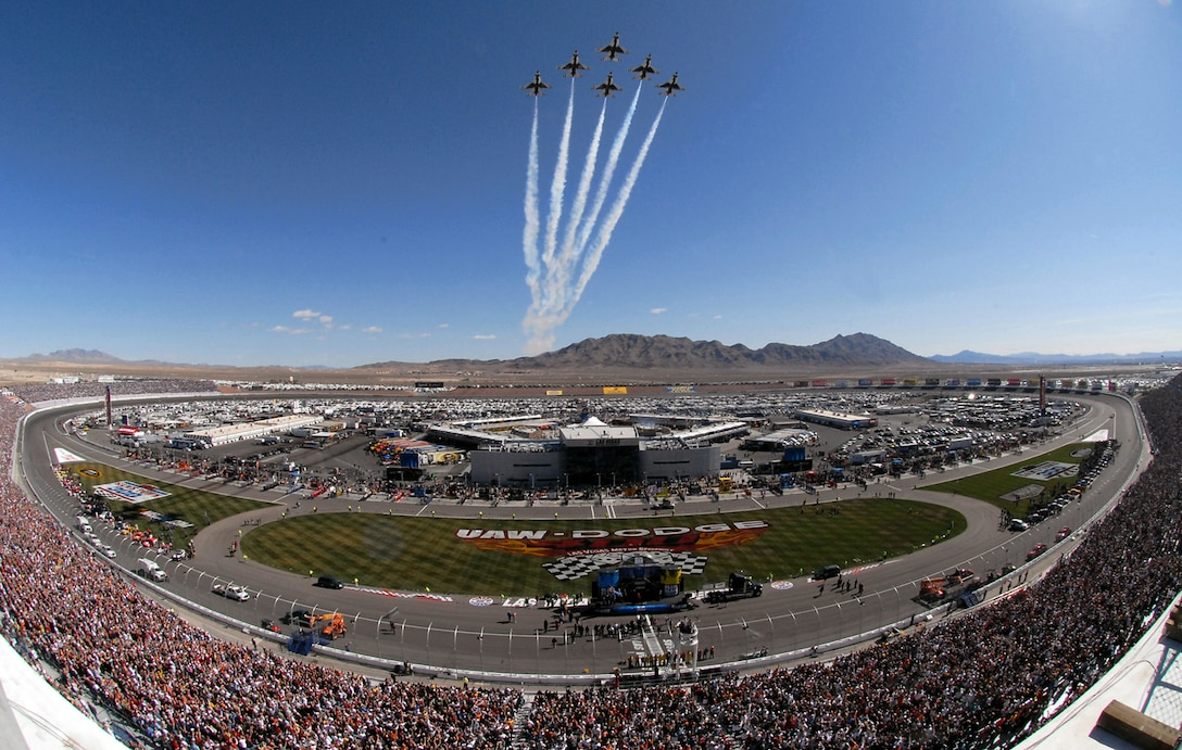 The Thunderbirds, the U.S. Air Force Air Demonstration Squadron, soar over a sold-out crowd at Las Vegas Motor Speedway March 2 before the NASCAR UAW-Dodge 400 Sprint Cup Series race. (U.S. Air Force photo/Chief Master Sgt. Gary Emery)