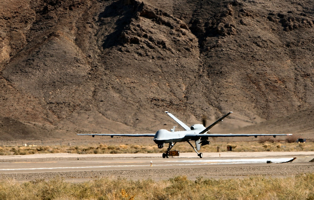 A MQ-9 Reaper prepares to launch Feb. 28 from Creech Air Force Base, Nev..  The Reapers arrived at the base in March 2007. (U.S. Air Force photo/Lawrence Crespo)